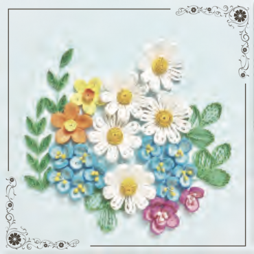 Quilling KAARDIKOMPLEKT (Tee ise) 19 x 19 cm - Lilled 2