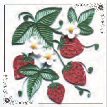 Quilling KAARDIKOMPLEKT (Tee ise) 19 x 19 cm - Maasikad