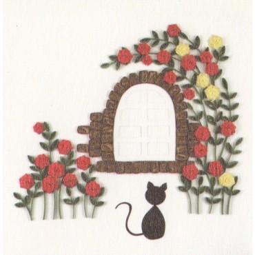 Quilling KAARDIKOMPLEKT (Tee ise) 19 x 19 cm - Kass ja roosiaed
