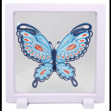 Quilling PILDIKOMPLEKT raamiga (Tee ise) 11 x 8 cm - Sinine liblikas