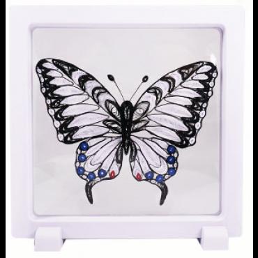 Quilling PILDIKOMPLEKT raamiga (Tee ise) 11 x 8 cm - Must liblikas