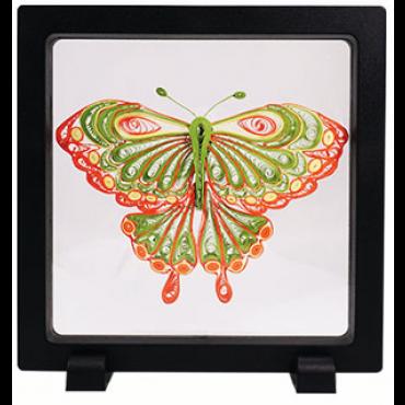 Quilling PILDIKOMPLEKT raamiga (Tee ise) 11 x 8 cm - Roheline liblikas