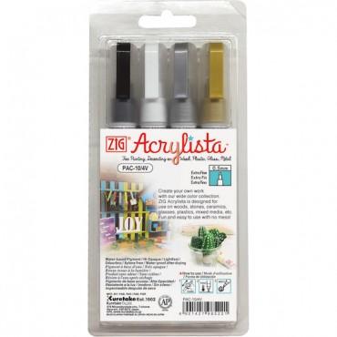 Akrüülmarker ACRYLISTA Extra Fine 0,5 mm komplekt - 4 värvi