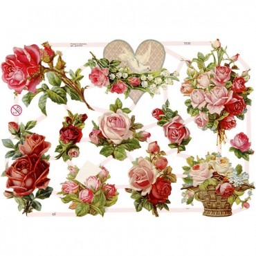 Paberikomplekt 16,5 x 23,5 cm 3 lehte - Roosid