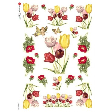 Dekupaažipaber 22 x 32 cm - FLOWERS_0277