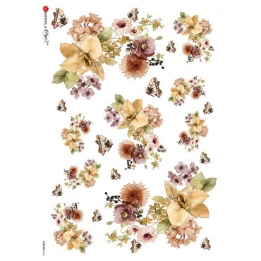 Dekupaažipaber 22 x 32 cm - FLOWERS_0166