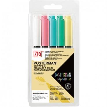 Marker POSTERMAN Dry-Wipe M 1,2 mm komplekt 5 tk