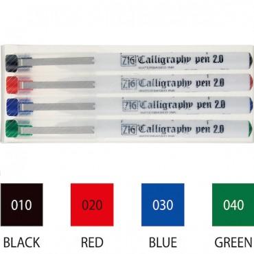 Tindipliiats CALLIGRAPHY PEN 2 mm viltuse otsaga KOMPLEKT - 4 värvi
