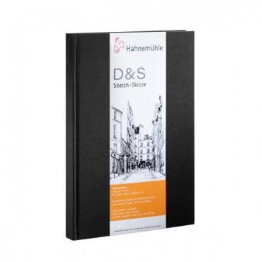 Visandiraamat D&S 140 g/m² 14,8 x 21 cm (A5) 80 lehte valge - Must