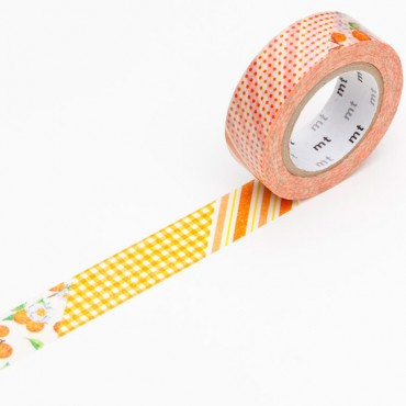 Washi teip 15 mm x 10 m - Flower orange