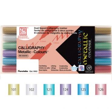 Viltpliiats CALLIGRAPHY Metallic KOMPLEKT - 6 värvi
