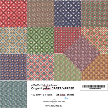 Origami paber CARTA VARESE 100 g/m² 16 x 16 cm 24 lehte - ERINEVAD MUSTRID