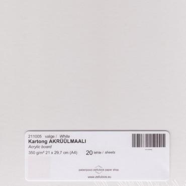 Kartong AKRÜÜLMAALI 350 g/m² 21 x 29,7 cm (A4) 20 lehte - Valge