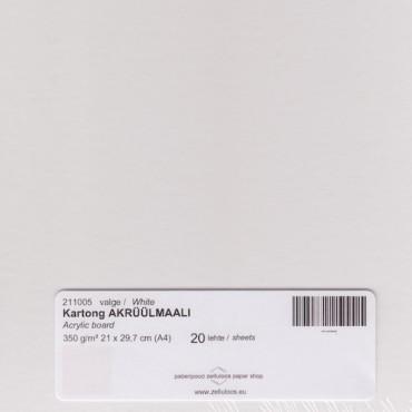 Kartong AKRÜÜLMAALI 350 g/m² 21 x 29,7 cm (A4) 0,6 mm 20 lehte - Valge