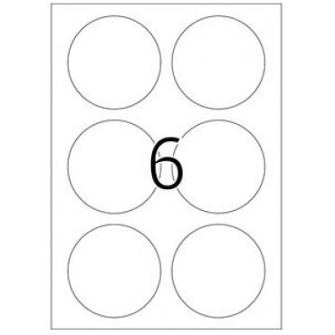 Etiketid EEMALDATAV 5 lehte - Ø 85 mm - 6 tk lehel