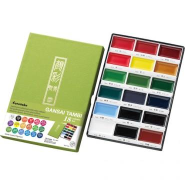 Akvarellvärvid GANSAI TAMBI KOMPLEKT - 18 värvi