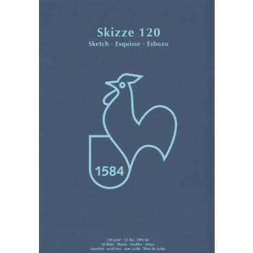 Visandiplokk HM SKIZZE 120 g/m² 21 x 29,7 cm (A4) 50 lehte - Valge