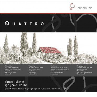Visandiplokk QUATTRO 170 g/m² 25,4 x 25,4 cm 50 lehte - Loodusvalge