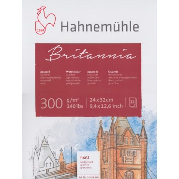 Akvarelliplokk BRITANNIA 300 g/m² 24 x 32 cm 12 lehte - Külmpressitud (CP)
