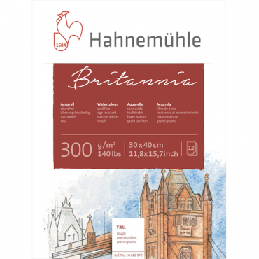 Akvarelliplokk BRITANNIA 300 g/m² 30 x 40 cm 12 lehte - Krobeline