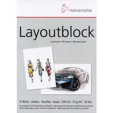 Visandiplokk LAYOUT (viltpliiatsile) 75 g/m² A3 75 lehte - Valge