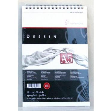 Visandiplokk DESSIN 150 g/m² A5 25 lehte valge (perforeeritud) spiraal