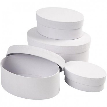Boxes OVAL lenght  L: 10 + 12 + 14 + 16 cm 4 pcs - White