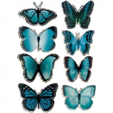 3D Stickers 28 + 45 mm 8 Pcs. - Blue butterfly
