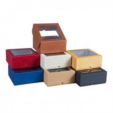 Gift Box 12,5 x 12,5 x 5,5 cm WINDOW - DIFFERENT COLORS