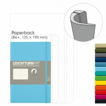 Notebook PAPERBACK B6+ 12,5 x 19,0 cm 123 Sheets DOTTED - DIFFERENT COLORS