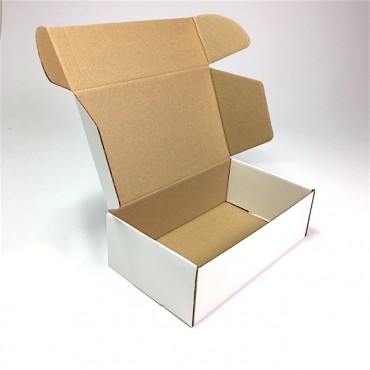 Box from corrugated cardboard  13 x 23 x 7 cm - Brown/white
