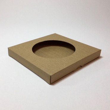 Box from corrugated cardboard 1,5mm 21,5 x 21,5 x 2,5 cm - Brown