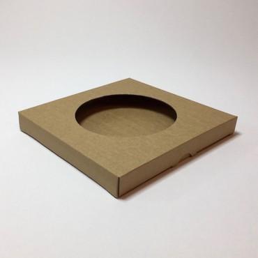 Box from corrugated cardboard 1,5mm 21,5 x 21,5 x 2,5 cm - Brown