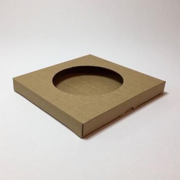 Box from corrugated cardboard  21,5 x 21,5 x 2,5 cm - Brown