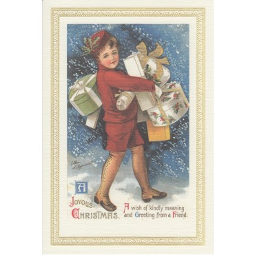 Card and envelope ROSSI 240 gsm 11,5 x 17 cm - Child with presents