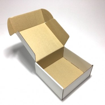 Box from corrugated cardboard 16,5 x 16,5 x 7 cm - Brown/white
