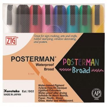 ZIG POSTERMAN Broad 8 colors set