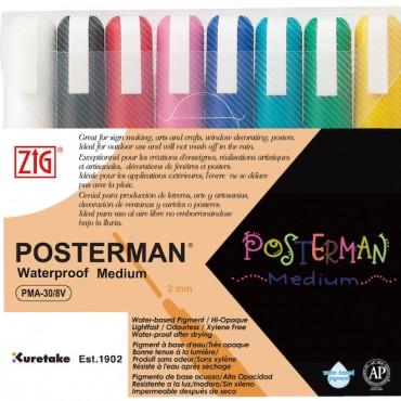 ZIG POSTERMAN Medium 8 colors set