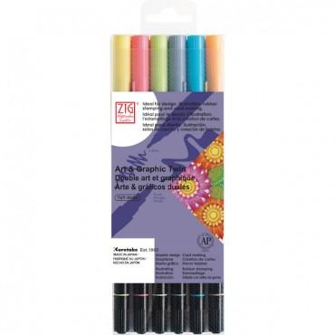 Sketching pen ART & GRAPHIC Twin 6 colors set - All Seasons