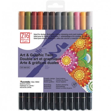 Sketching pen ART & GRAPHIC Twin 12 colors set - Muted colors