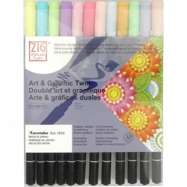 Sketching pen ART & GRAPHIC Twin 12 colors set - Pastel colors