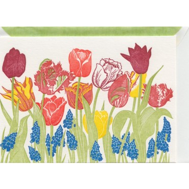 Card and envelop BOHEMIA 2-sided A6 - Tulips
