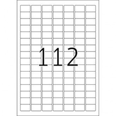 Label REMOVABLE 5 Sheets - 25,4 x 16,9 mm - 112 pcs on sheet