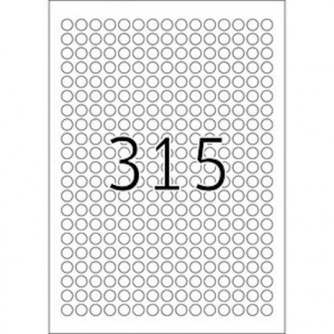 Label REMOVABLE 5 Sheets - Ø 10 mm - 315 pcs on sheet