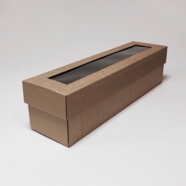 Box WINE 9 x 35 x 9 cm window - Brown