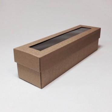 Box WINE 9 x 35 x 9 cm window - Brown
