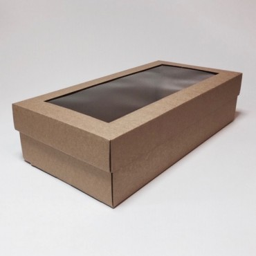 Box WINE 18 x 34 x 9 cm, window - Brown
