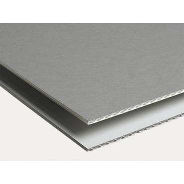 Corrugated ARCHIVE BOARD 1,6 mm 105 x 175 cm - Dove Grey/white