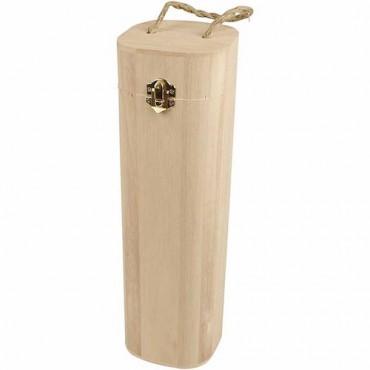 Wine Box Ø 10 cm H: 34 cm with cord - Wooden