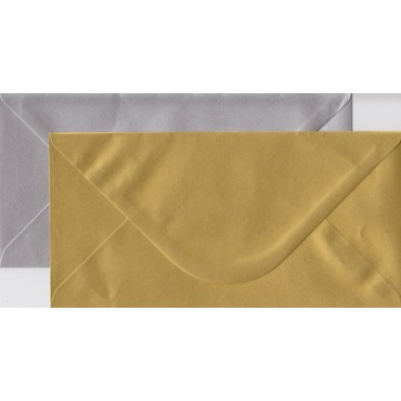 Envelopes KSH METALLIC 11 x 22 cm (C65) 120 gsm 10+10 pcs. - Gold/Silver